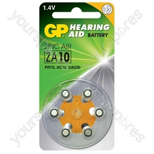 GP Zinc Air Hearing Aid Batteries - ZA10 (PR70) Yellow, 1.4V, 75mAh, 3.6x5.8mmØ, 6pcs/pack
