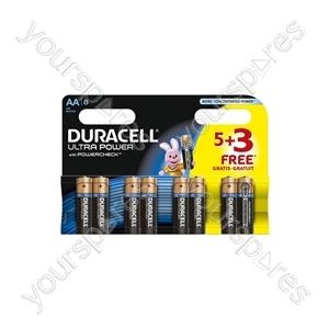 Duracell Plus Power Alkaline Batteries 5+3 Pack - AA of