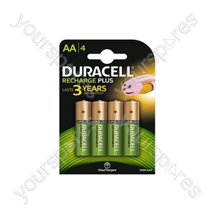 Duracell NiMH Plus Rechargeable Battery - AA Card of 4
