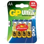 GP Ultra+ Alkaline Batteries - batteries, AA, 1.5V, packed 4/blister