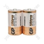 GP Ultra Alkaline Batteries - batteries, D, 1.5V, packed 2 /blister