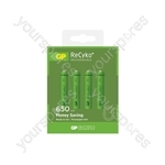 GP Recyko+ NiMH Rechargeable Batteries - 650 AAA (Card of 4)