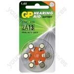 GP Zinc Air Hearing Aid Batteries - ZA13 (PR48) Orange, 1.4V, 230mAh, 5.4x7.9mmØ, 6pcs/pack