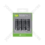 GP Recyko+ Pro NiMH Rechargeable Batteries - AA (Card of 4)