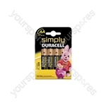 Simply Duracell Alkaline Batteries - AA - 4 Pack