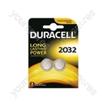 Duracell Lithium Coin Cell Battery - CR2032 Card of 2