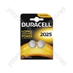 Duracell Lithium Coin Cell Battery - CR2025 Card of 2