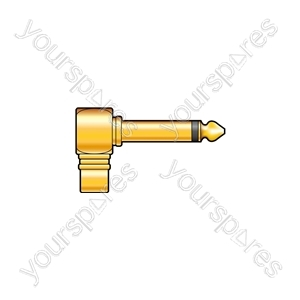 Right Angle 6.3mm Mono Jack Plug - RCA Phono Socket - Gold plated adaptor to socket