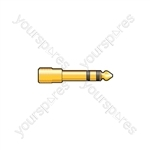 6.3mm Stereo Jack Plug - 3.5mm Stereo Jack Socket - WE11108 Adaptor to Gold plated