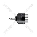 3.5mm Stereo Jack Plug - 2 x RCA Phono Sockets - Skt