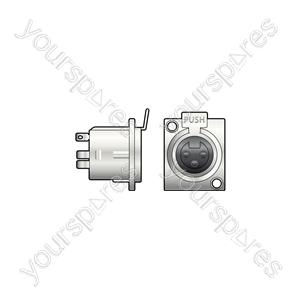 3-pin XLR Chassis - socket, 3-pin, square