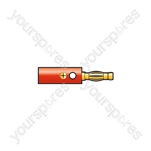 WE1417GR Gold plated banana plug, screw fixing, Red