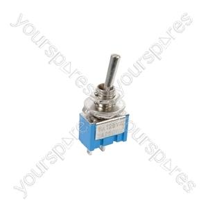 Miniature toggle switch, 1 x on/off, 7.9 x 13.2mm, 250Vac, 3A