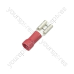 Crimp terminal, female blade, 0.5 - 1.5mmØ cable, Red, 6.3mm
