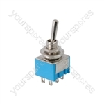 Miniature toggle switch, 2 x on/on, 11.5 x 12.5mm, 250Vac, 3A