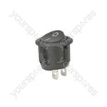 Rocker switch, 1 x on/off, Black, 250Vac, 6A