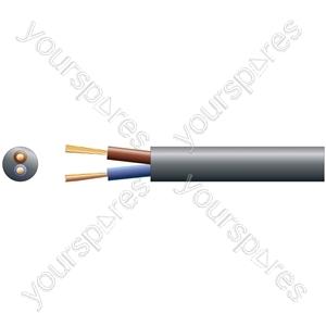 3182Y 2 Core Round PVC, 300/500V, HO5VV-F2, 10A - mains x 32/0.2mm, 10A, 6.4mmØ, Black, 100m