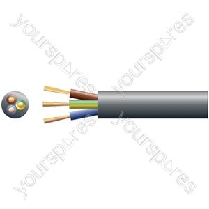 3183Y 3 Core Round PVC, 300/500V, HO5VV-F3, 15A - mains x 48/0.2mm, 15A, 8.7mmØ, Black, 100m
