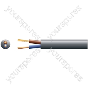 3182Y 2 Core Round PVC, 300/500V, HO5VV-F2, 6A - mains x 24/0.2mm, 6A, 6.35mmØ, Black, 100m
