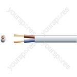 2192Y 2 Core Oval PVC, 300/300V, HO3VVH2-F2, 6A - mains x 24/0.2mm, 6A, White, 100m