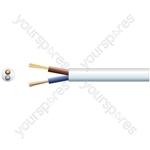2182Y 2 Core Round PVC, 300/300V, HO3VV-F2, 6A - mains x 24/0.2mm, 6A, 5.8mmØ, White, 100m