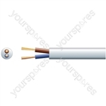 3182Y 2 Core Round PVC, 300/500V, HO5VV-F2, 10A - mains x 32/0.2mm, 10A, 6.4mmØ, White, 100m