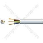 3183Y 3 Core Round PVC, 300/500V, HO5VV-F3, 10A - mains x 32/0.2mm, 10A, 7.2mmØ, White, 100m