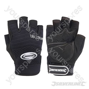 Fingerless Gel Comfort Gloves - Large