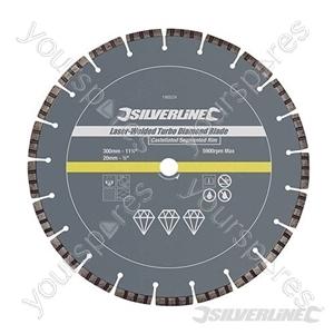 Laser-Welded Turbo Diamond Blade - 300 x 20mm Castellated Segmented Rim