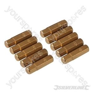 Hex Gold Screwdriver Bits 10pk - Hex 6mm