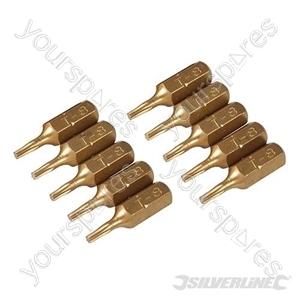 T8 Gold Screwdriver Bits 10pk - T8