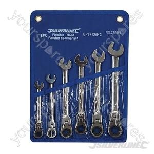 Flexible Head Ratchet Spanner Set 6pce - 8 - 17mm