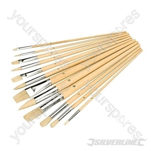 Artists Paint Brush Set 12pce - Mixed Tips
