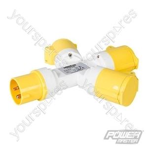 16A 3-Gang Splitter - 110V 3 Pin