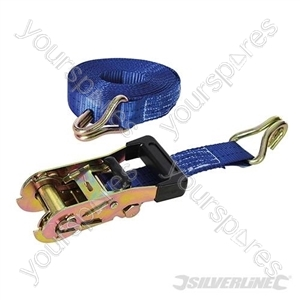 Rubber-Handled Ratchet Tie Down Strap J-Hook 6m x 38mm - Rated 750kg Capacity 2000kg