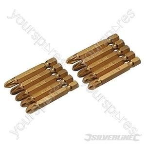 Pozidriv 50mm Gold Screwdriver Bits 10pk - PZ3