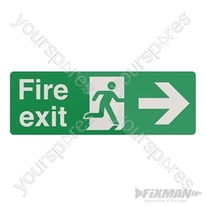 Fire Exit Right Arrow Sign - 400 x 150mm Self-Adhesive