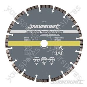 Laser-Welded Turbo Diamond Blade - 230 x 22.23mm Castellated Segmented Rim
