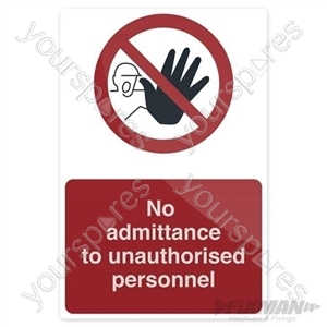 No Unauthorised Persons Allowed Beyond This Point - 200 x 300mm Self Adhesive