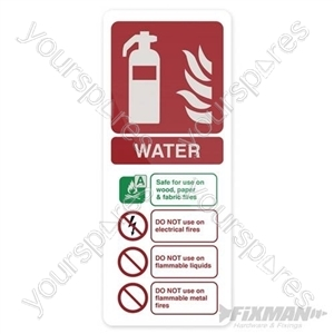Water EN3 Extinguisher Sign - 202 x 82mm Self-Adhesive