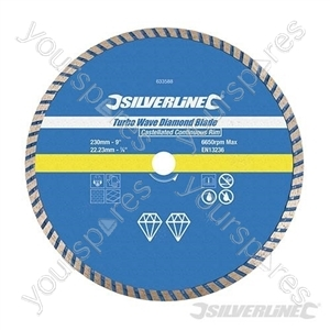 Turbo Wave Diamond Blade - 230 x 22.23mm Castellated Continuous Rim