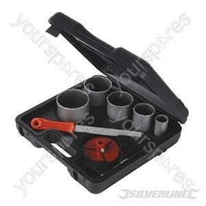 Tungsten Grit Holesaw Kit 8pce - 33 - 83mm Dia