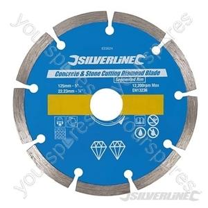 Concrete & Stone Cutting Diamond Blade - 125 x 22.23mm Segmented Rim