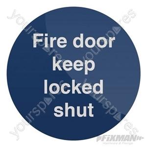 Fire Door Keep Locked Shut Sign - 100 x 100mm Self-Adhesive