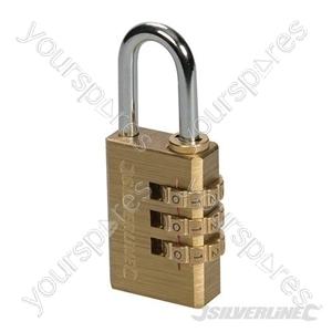 Combination Padlock Brass - 3-Digit