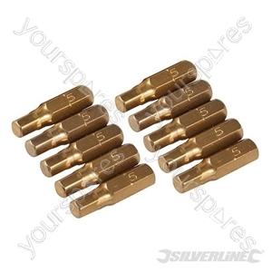 Hex Gold Screwdriver Bits 10pk - Hex 5mm