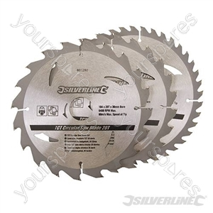 TCT Circular Saw Blades 20, 24, 40T 3pk - 184 x 30 - 20, 16mm Rings