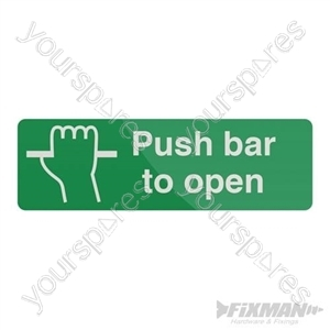 Push Bar To Open Sign - 300 x 100mm Self-Adhesive