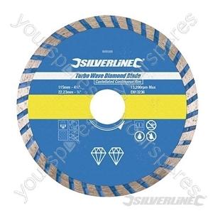 Turbo Wave Diamond Blade - 115 x 22.23mm Castellated Continuous Rim