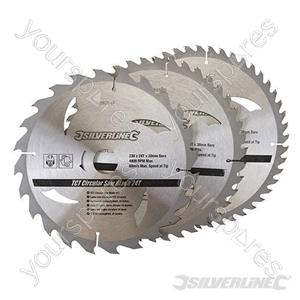 TCT Circular Saw Blades 24, 40, 48T 3pk - 230 x 30 - 25, 20, 16mm Rings